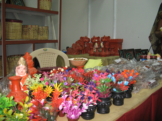artificial flowers, idols and basket
